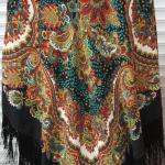 чёрный платок с цветами купить