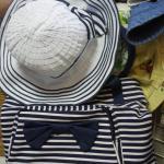 летняя сине-белая шляпа и сумка